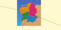 Diagrama de Voronoi coas capitais de Galicia