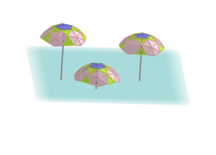 Paraguas geodésicos 3V a partir de un icosaedro Press Enter to start activity