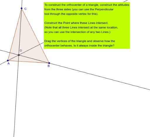 the orthocenter of a triangle geogebra