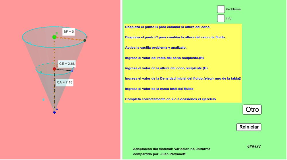 Aplicar la integral definida para obtener la Masa de un fluido contenido en un recipiente cónico.  ......Adaptación del material: Variación no uniforme compartido por: Juan Parvanoff.