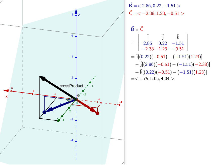 Play around with the applet to explore the cross product of two vectors. Press Enter to start activity