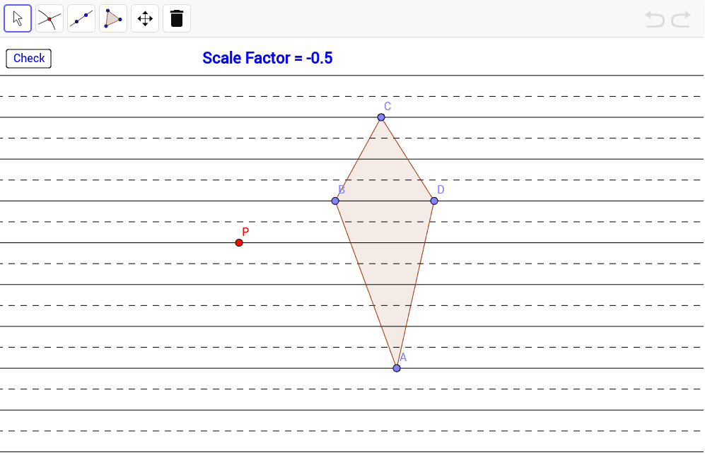 Dilate quadrilateral ABCD by the given scale factor with center of dilation P. Press Enter to start activity
