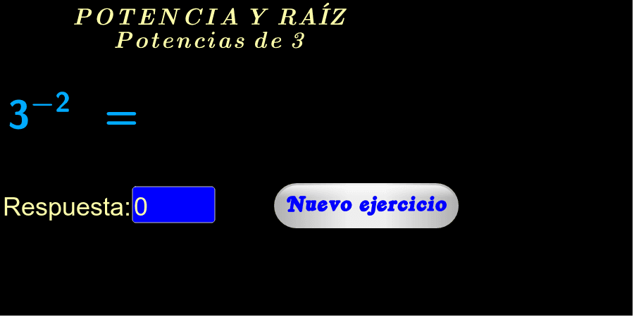"""Ingrese su respuesta en el rectángulo azul, si es correcta aparecerá """"¡Muy bien!"""". Para obtener más ejercicios haga click en """"Nuevo ejercicio""""."""