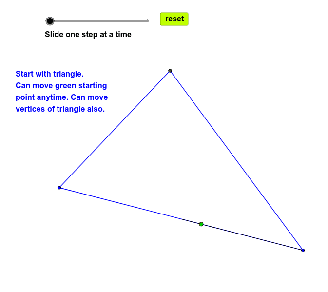 Closed triangle path with incircles. Press Enter to start activity