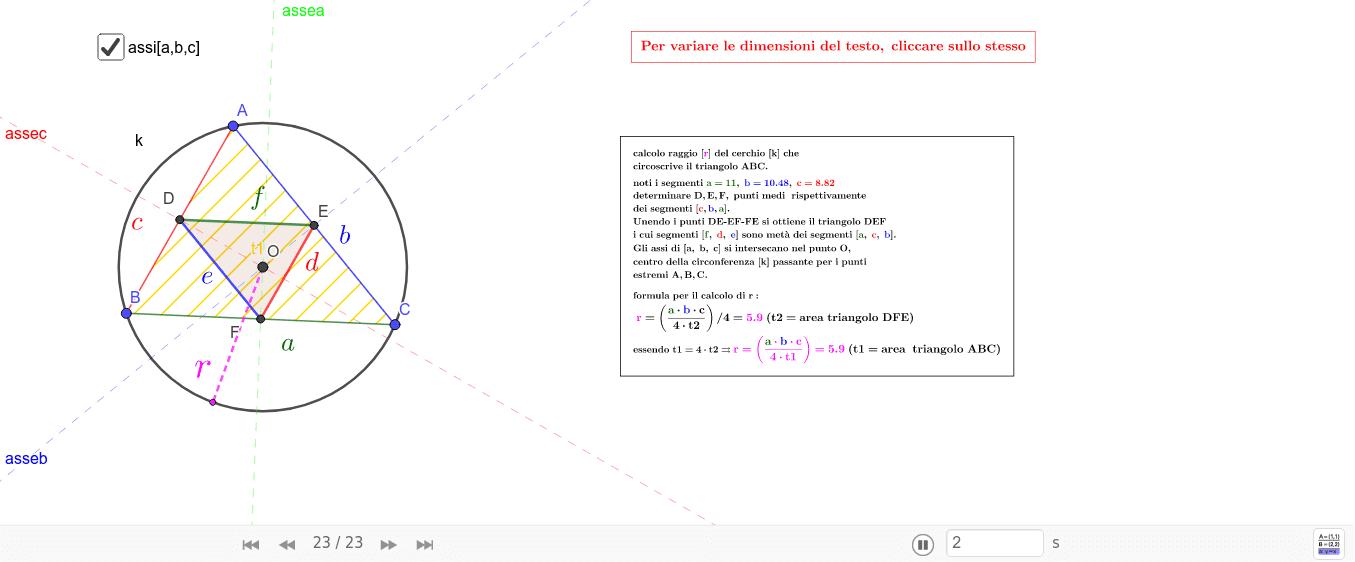 costruzioni e dimostrazioni - triangolo-calcolo raggio cerchio circoscritto - agg.to 1.12.2017-agg.to 13.3.2018-7.4.2018 Premi Invio per avviare l'attività