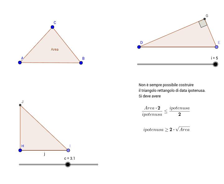 Trasforma un triangolo in un triangolo rettangolo equivalente di data ipotenusa o di dato cateto. Premi Invio per avviare l'attività