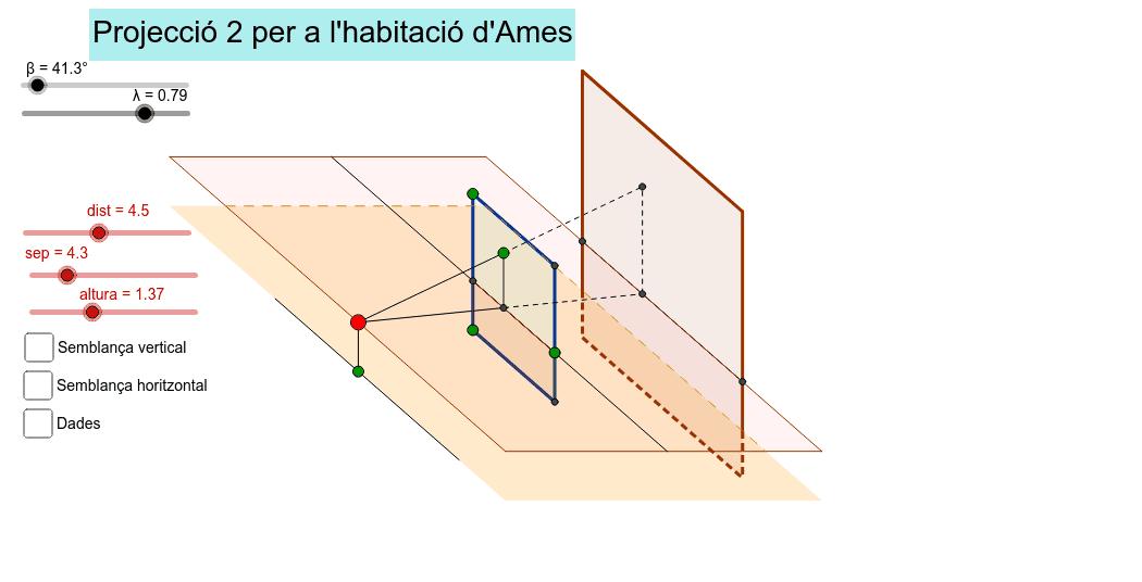 Estudi de la projecció entre plans paral·lels per a l'habitació d'Ames