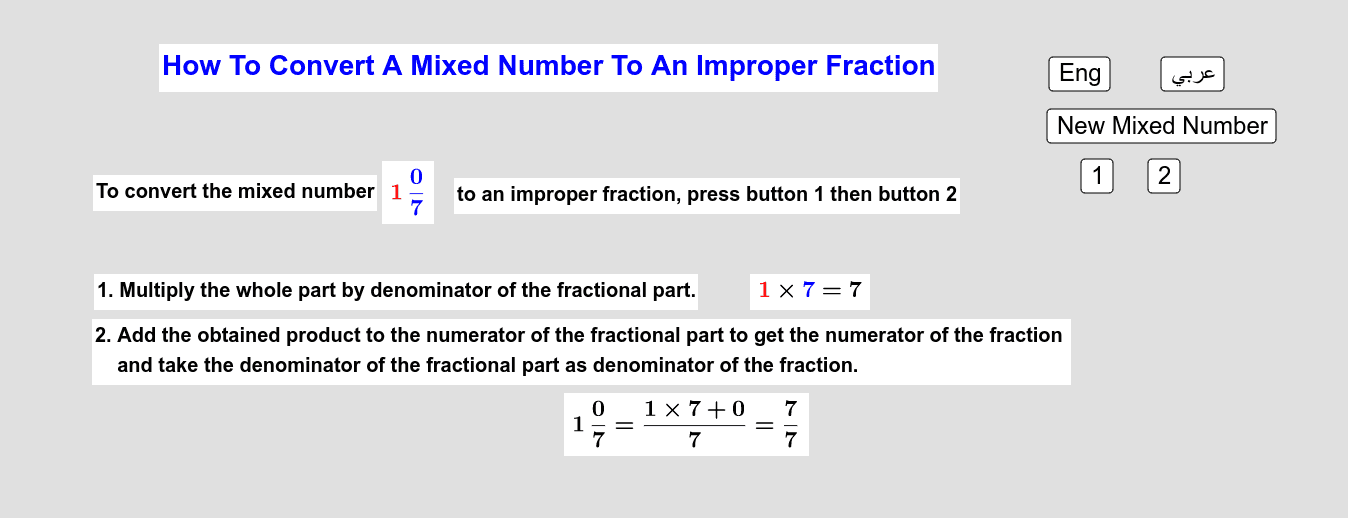 How To Convert A Mixed Number To An Improper Fraction       كيف نُحوّل عدداً كسرياً إلى كسر زائد Press Enter to start activity