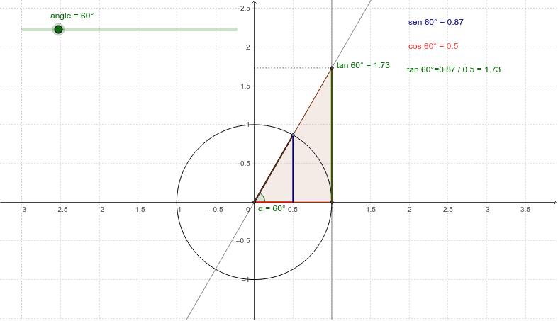 Raons trigonomètriques d'un angle en la circumferència goniomètrica. Premeu Enter per iniciar l'activitat