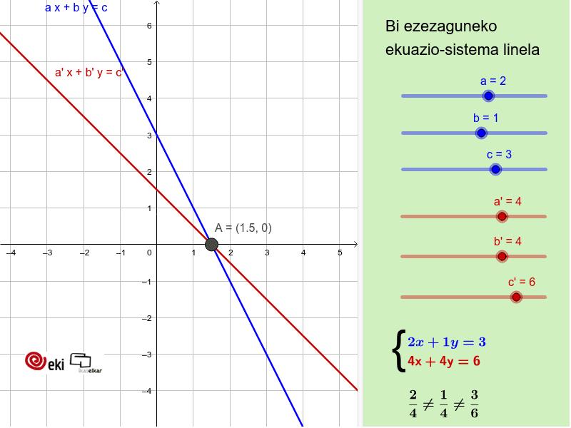 Bi ezezaguneko ekuazio sistema lineala Sakatu Enter jarduera hasteko