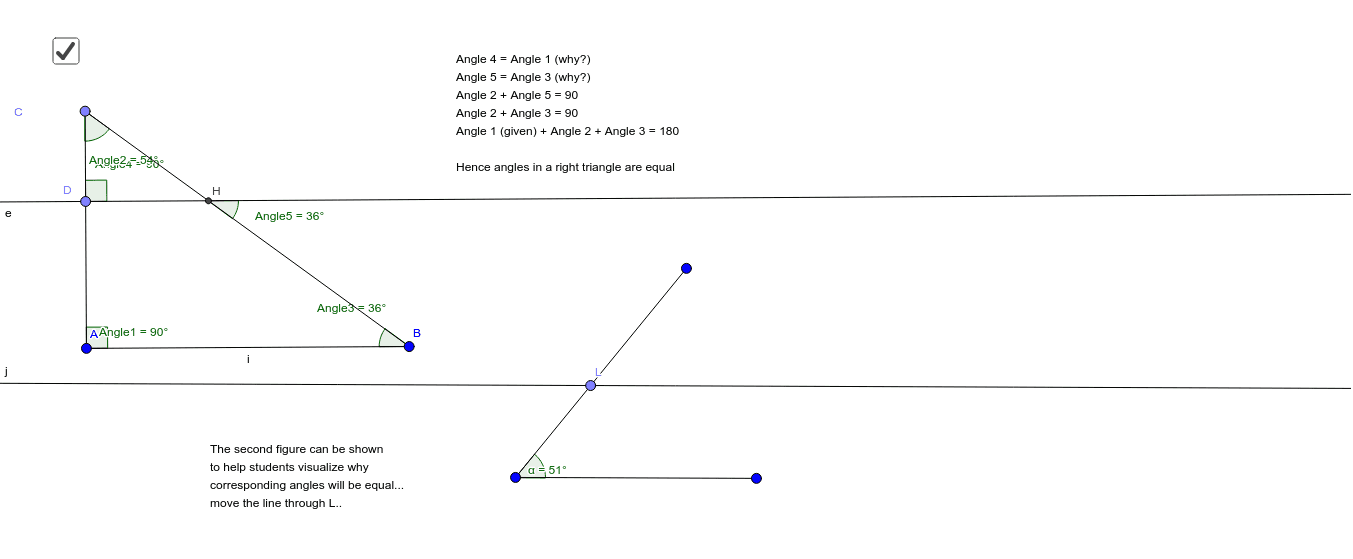 Angle Sum Property - Angles in a right triangle Press Enter to start activity