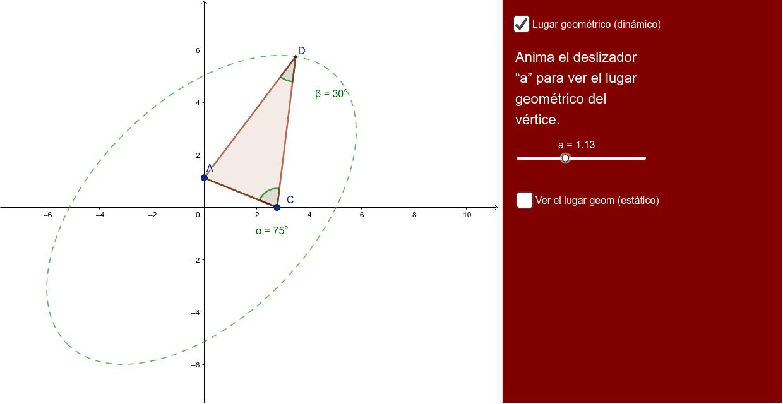 Lugar geométrico de los vértices de los triángulos isósceles que tienen la base fija sobre los ejes.
