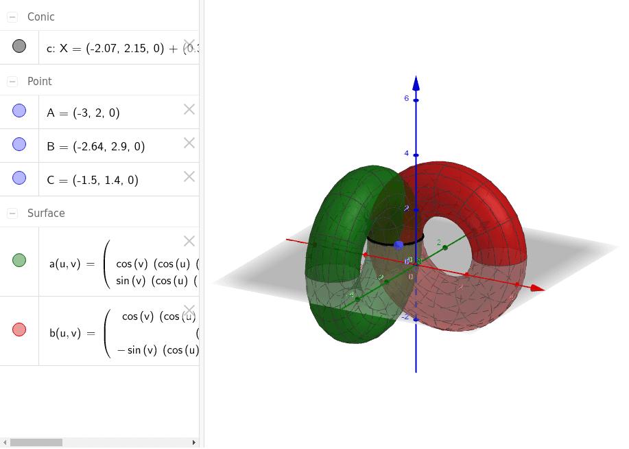 Ejemplo de construcción de una superficie con una cónica sobre el plano base