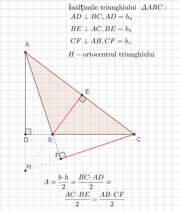 Înălțimile triunghiului. Ortocentrul triunghiului Apăsați Enter pentru a începe activitatea