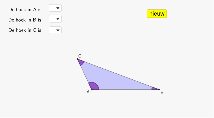 benoem de hoeken in A, B en C Press Enter to start activity