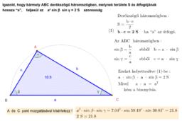 Derékszögű háromszög - terület