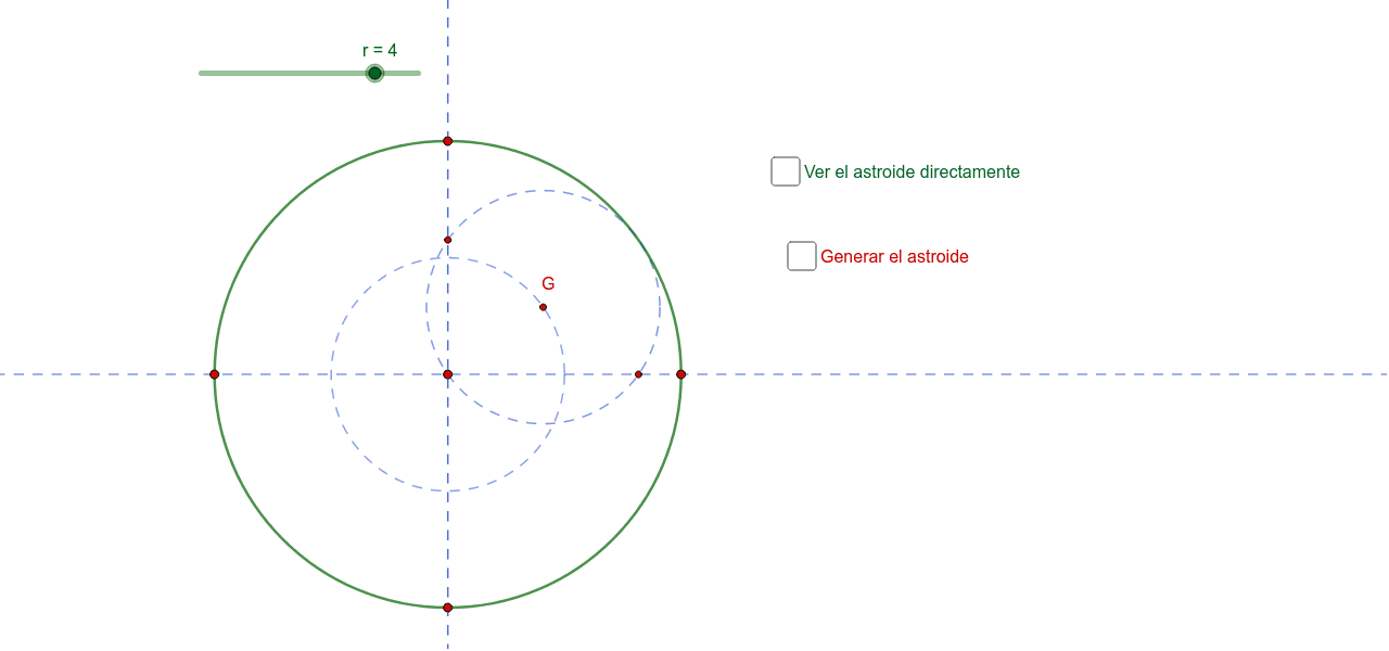 Generamos el astroide como envolvente de segmentos fijos.