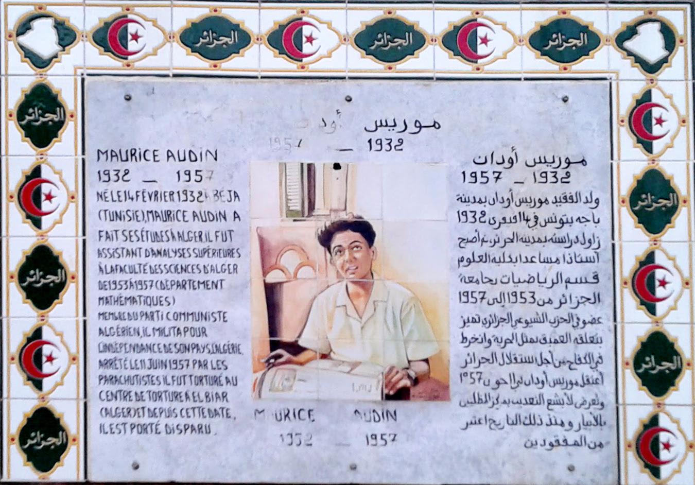 La plaque de la place Maurice Audin à Alger