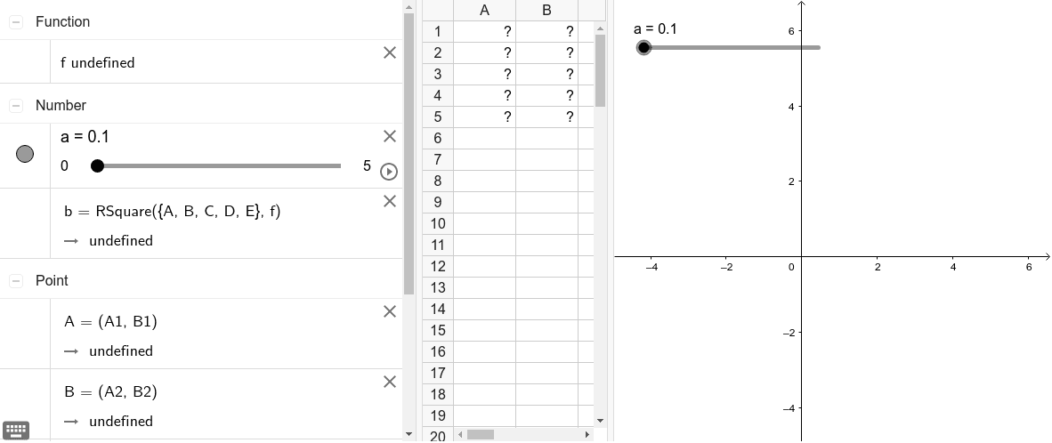 """Input your a-values (the x coordinates) in column A and the corresponding b-values (the areas) in column B as ordered pairs in the spreadsheet below. The """"fitpoly"""" command will help you determine the best fit model."""