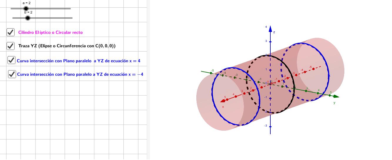 A continuación podrás visualizar la construcción de un Cilindro elíptico,  sus trazas e intersecciones con planos paralelos a los planos coordenados. Haz clic en cada casilla y se visualizará la traza  o la curva intersección con planos paralelos a los pl Presiona Intro para comenzar la actividad