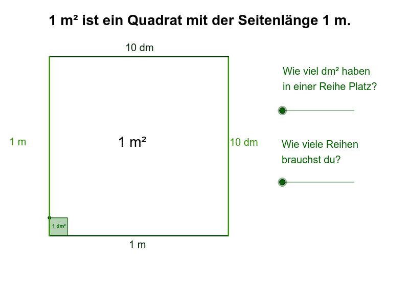 Finde heraus, wie viele Quadratdezimeter in den Quadratmeter passen! Drücke die Eingabetaste um die Aktivität zu starten