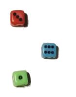 Jugant a un joc de taula, es llancen 3 daus. En una de les tirades, els daus queden tal  com es mostra a la figura: