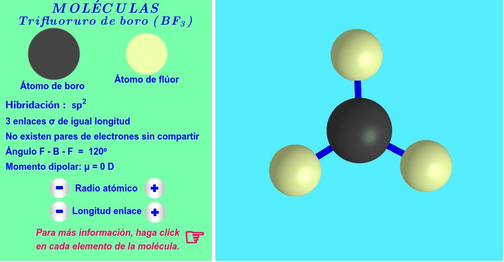 Hibridación sp2 ( haga click en cada elemento de la molécula ).