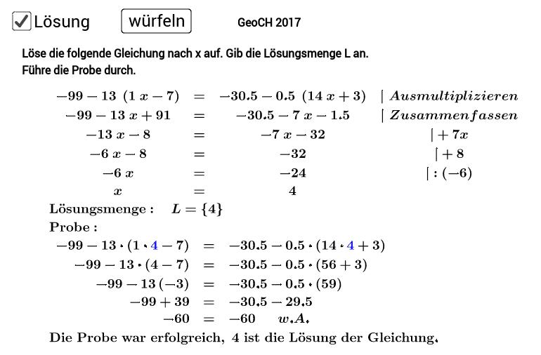 Lineare Gleichungen Niveau II. Löse die Aufgabe auf einem Extrablatt. Entferne zum Üben den Haken (Lösung). Drücke die Eingabetaste um die Aktivität zu starten