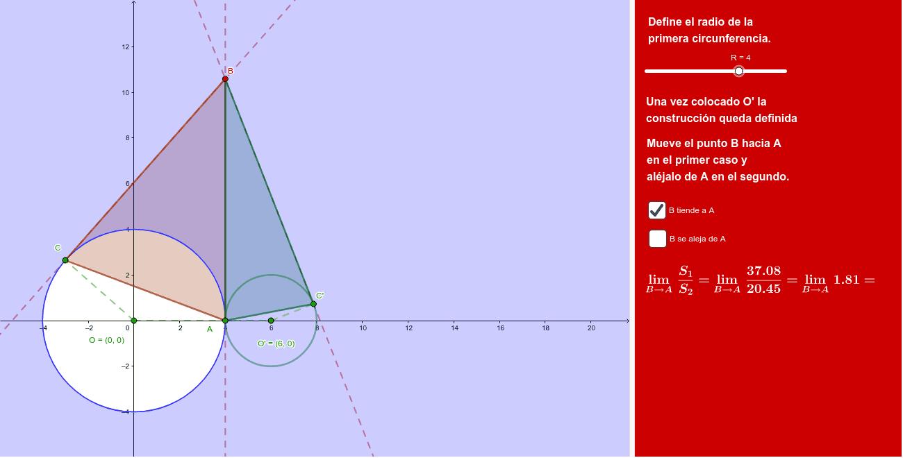 Se trata de determinar la razón entre las superficies de los triángulos.