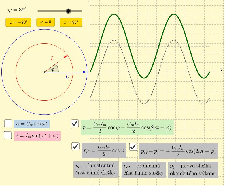 Vztah 3 - složení proměnné části činné složky s jalovou složkou