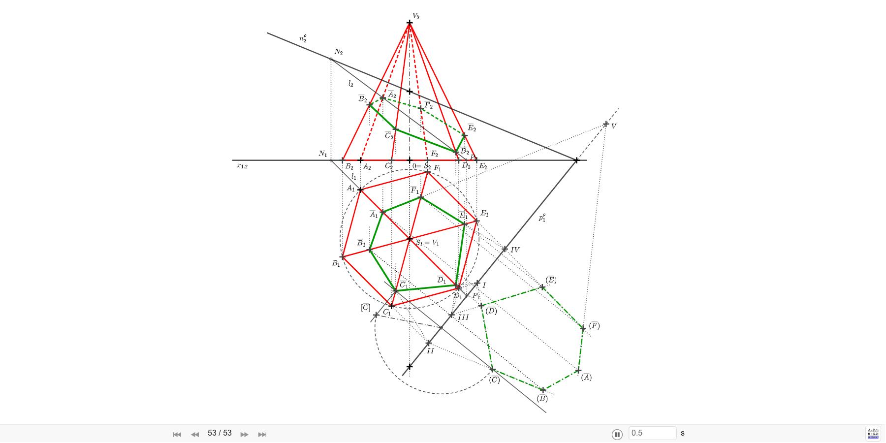 Pravidelný šestiboký jehlan s podstavou v růdorysně π, se středem S=[0; 40; 0], s vrcholem A=[-25; 15; 0], s výškou v=70 protněte rovinou ρ=(85; 105; 35). Sestrojte skutečnou velikost řezu. Zahajte aktivitu stisknutím klávesy Enter