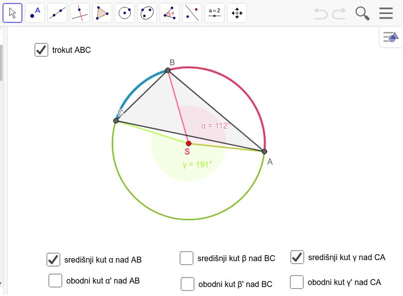 veza unutarnjih kutova trokuta i središnjih kutova opisane mu kružnice Pritisnite Enter kako bi pokrenuli aktivnost