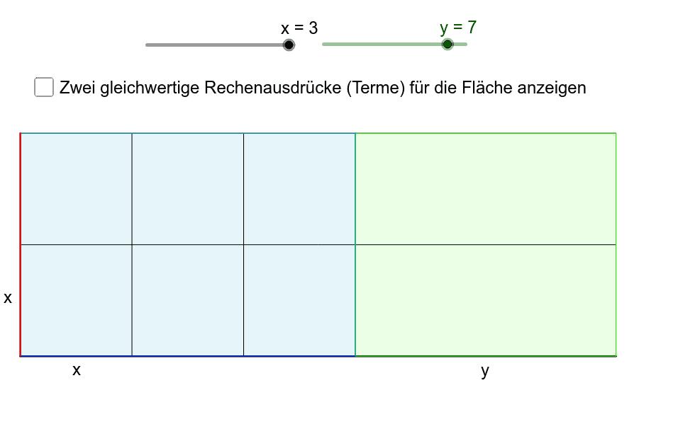 Finde zwei gleichwertige Rechenausdrücke mit den Variablen x und y zur Bestimmung der gesamten Rechtecksfläche. Drücke die Eingabetaste um die Aktivität zu starten