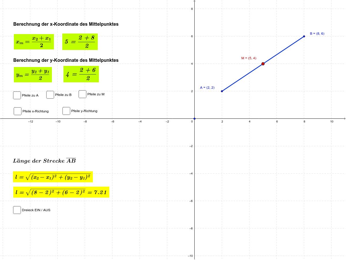 Mittelpunkt und Länge einer Strecke