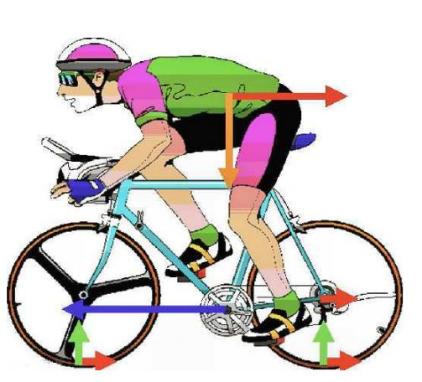 """Parte dell'energia meccanica trasferita sui pedali dal ciclista viene trasformata in calore attraverso tutte le resistenze passive, mentre la parte """"utile"""" diventerà energia cinetica della bicicletta . Il moto su una direzione non orizzontale implica che parte dell'energia impressa sui pedali, anziché ritrasformarsi in energia cinetica, vada ad incrementare l'energia potenziale gravitazionale"""