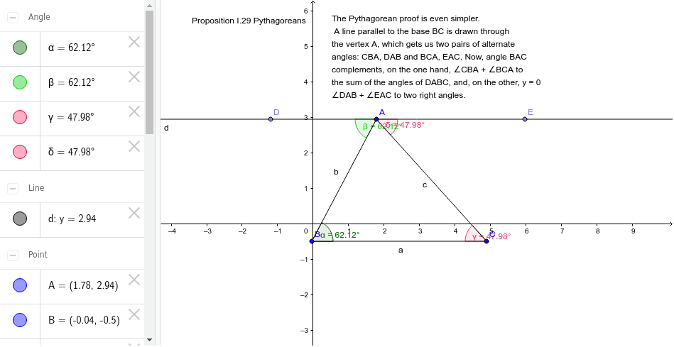 Pythagorean Proof of the Sum of Angles in a Triangle Press Enter to start activity