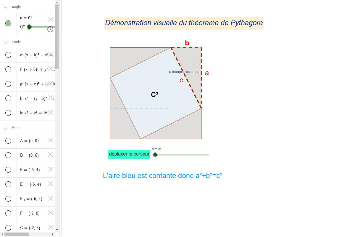démonstration visuelle du Théorème de Pythagore