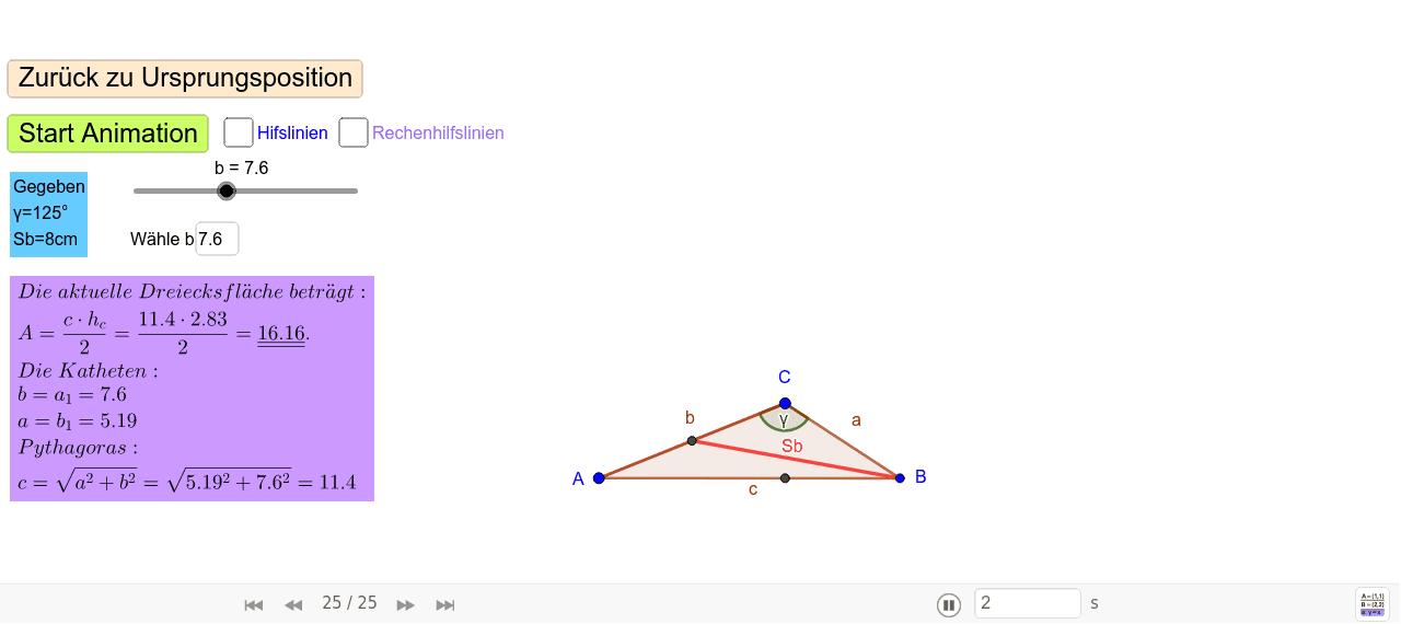 Aufgabenstellung: Konstruieren Sie ein Dreieck aus γ=125° und Sb=8cm.