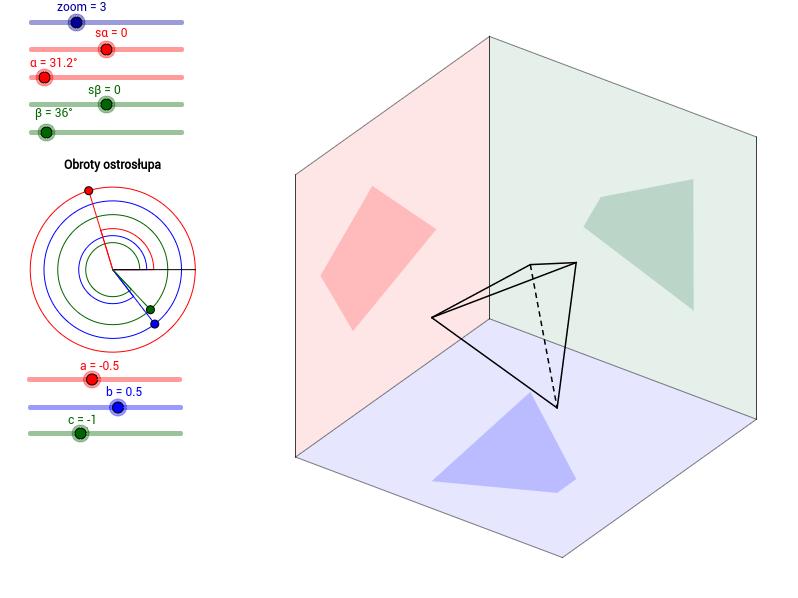 Rzuty ostrosłupa trójkątnego na płaszczyzny