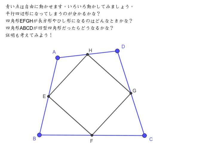 四角形ABCDの各辺の中点を結ぶとどうなる? ワークシートを始めるにはEnter キーを押してください。