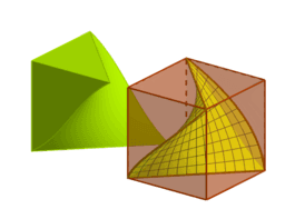 Un cub dividit en dos per una superfície de Schwarz