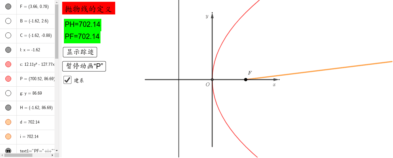 抛物线定义 按 Enter 开始活动