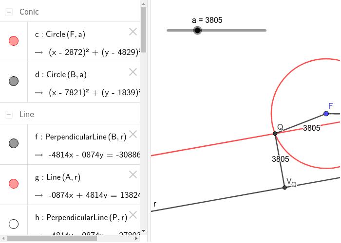 Geogebra opdracht 4: Conflictlijn parabool construeren m.b.v. Isolijnen. Press Enter to start activity