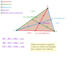 Mediana do lado de um Triânguloe e o Baricentro
