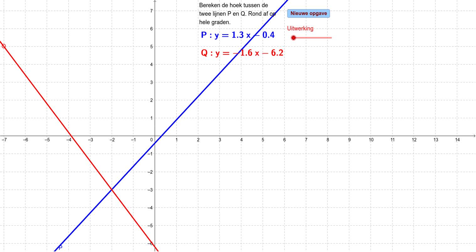 Berekenen van de hoek tussen twee lijnen (oefenen) Klik op Enter om de activiteit te starten