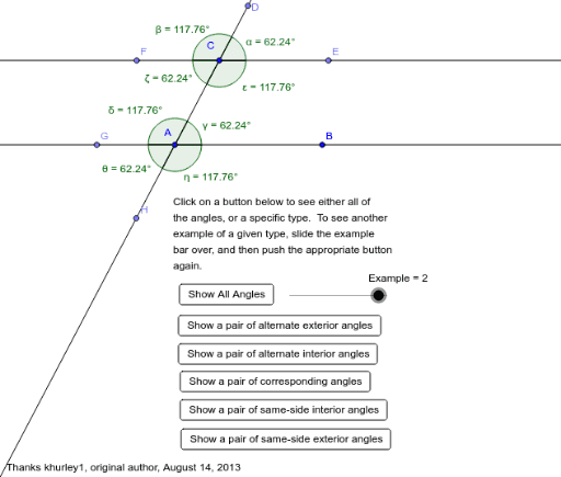 Parallel Lines With Transversal And Angles Geogebra