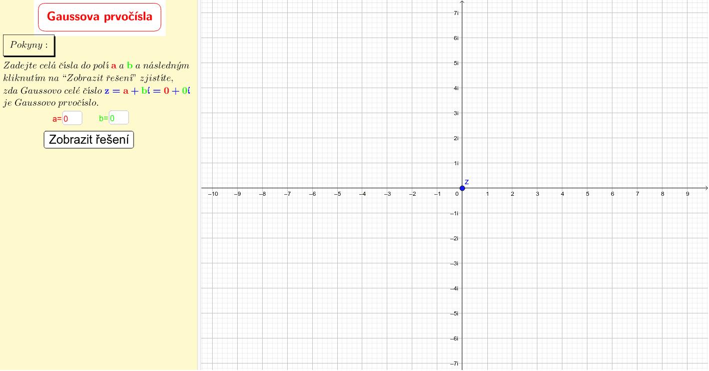 Gaussova prvočísla Zahajte aktivitu stisknutím klávesy Enter