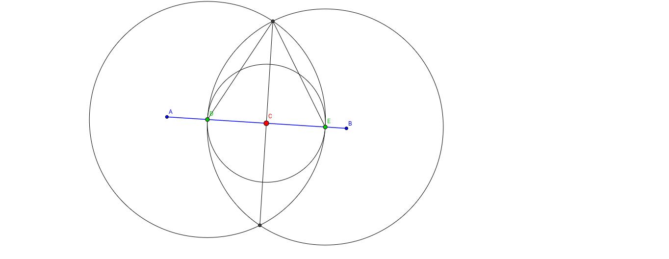 Perpendicular a un segment que passa per un punt d'aquest