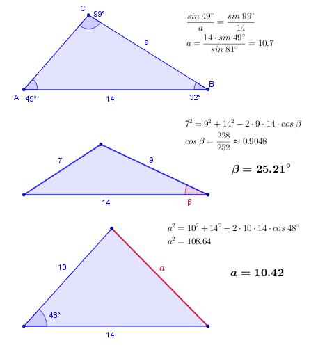 """1.)  Adott a """"c"""" oldal és a rajta fekvő két szög.  a=?"""