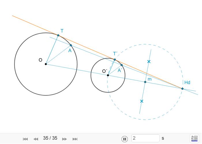 Rectas tanxentes exteriores a dúas circunferencias.